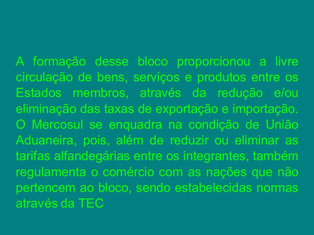 A formação desse bloco proporcionou a livre circulação de bens, serviços e produtos entre os Estados membros, através da redução e/ou eliminação das t