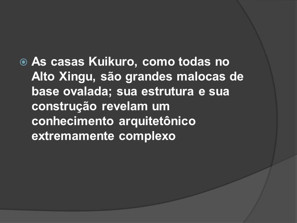 As casas Kuikuro, como todas no Alto Xingu, são grandes malocas de base ovalada; sua estrutura e sua construção revelam um conhecimento arquitetônico