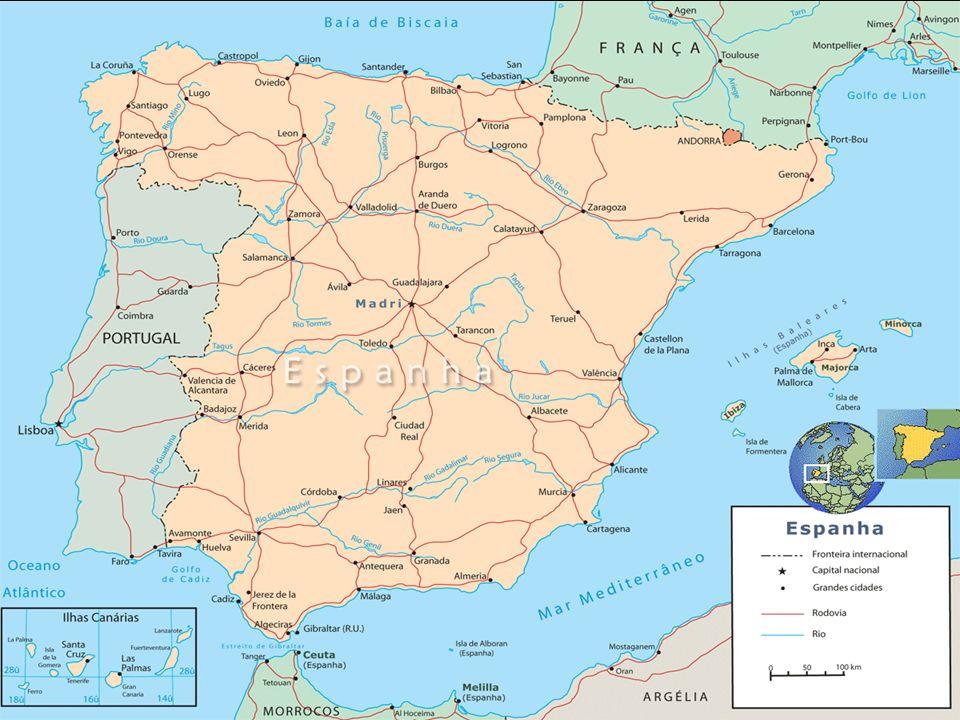Geografia A Espanha ocupa a maior parte da península Ibérica.