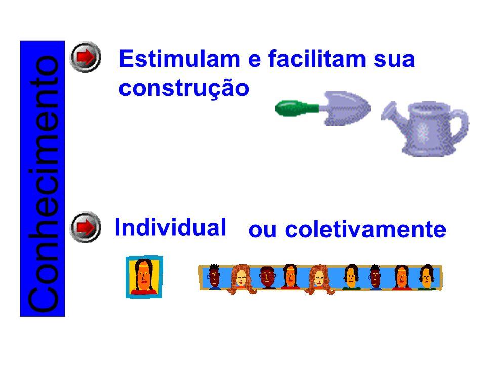 Conhecimento Estimulam e facilitam sua construção Individual ou coletivamente