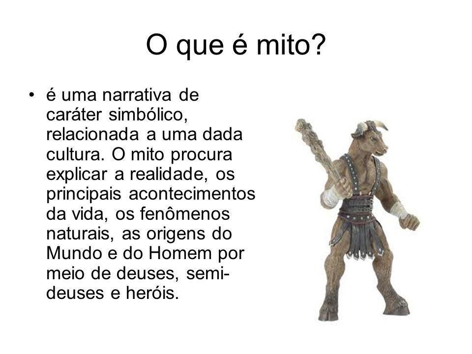O que é mito? é uma narrativa de caráter simbólico, relacionada a uma dada cultura. O mito procura explicar a realidade, os principais acontecimentos