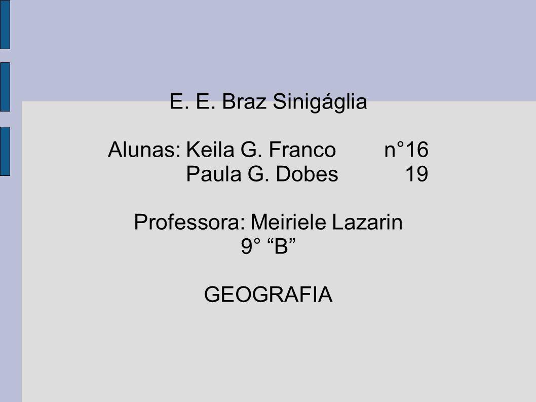 E. E. Braz Sinigáglia Alunas: Keila G. Franco n°16 Paula G. Dobes 19 Professora: Meiriele Lazarin 9° B GEOGRAFIA