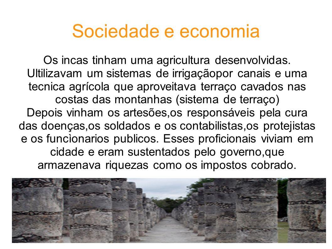 Sociedade e economia Os incas tinham uma agricultura desenvolvidas. Ultilizavam um sistemas de irrigaçãopor canais e uma tecnica agrícola que aproveit