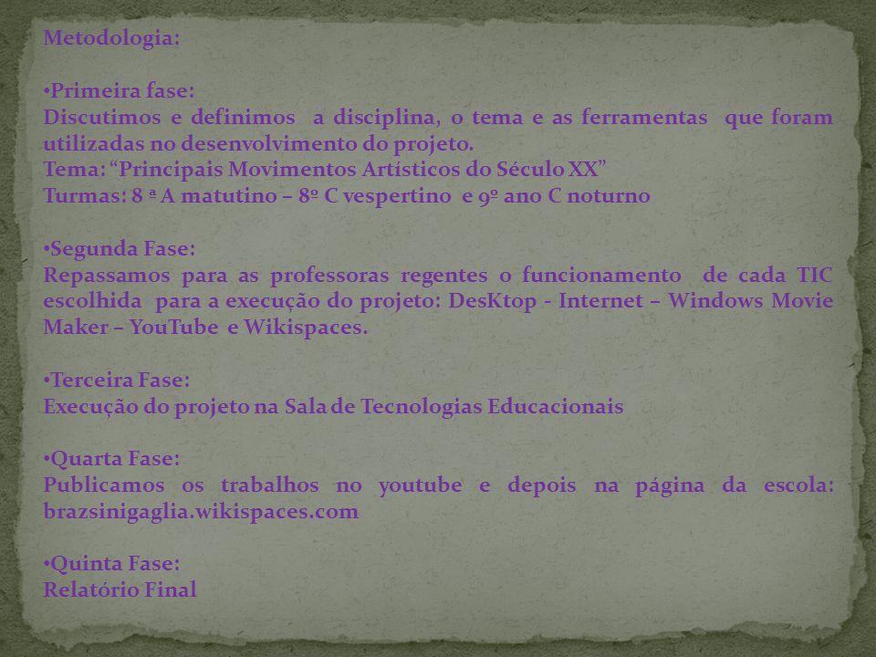 Metodologia: Primeira fase: Discutimos e definimos a disciplina, o tema e as ferramentas que foram utilizadas no desenvolvimento do projeto. Tema: Pri