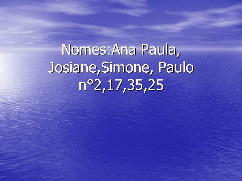 Nomes:Ana Paula, Josiane,Simone, Paulo n°2,17,35,25