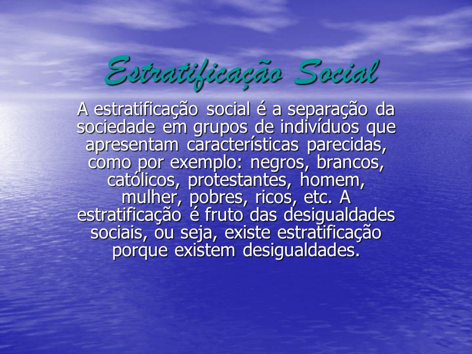 Estratificação Social A estratificação social é a separação da sociedade em grupos de indivíduos que apresentam características parecidas, como por ex
