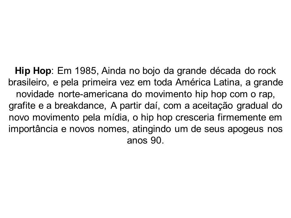 Hip Hop: Em 1985, Ainda no bojo da grande década do rock brasileiro, e pela primeira vez em toda América Latina, a grande novidade norte-americana do