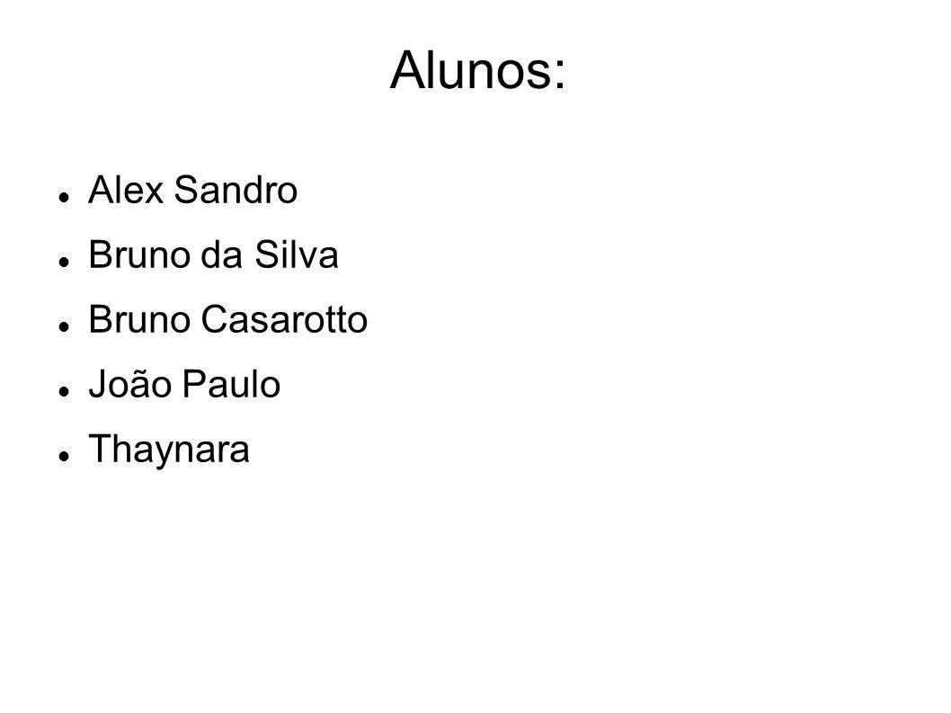 Alunos: Alex Sandro Bruno da Silva Bruno Casarotto João Paulo Thaynara