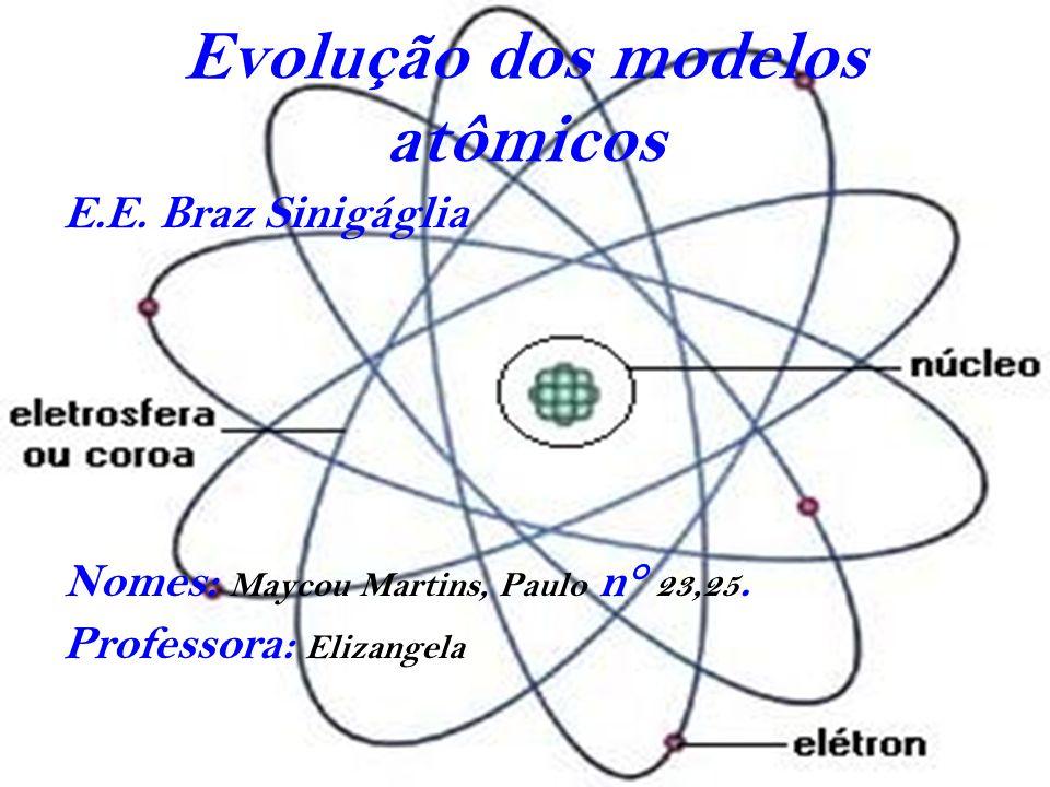 Evolução dos modelos atômicos E.E.Braz Sinigáglia Nomes: Maycou Martins, Paulo n° 23,25.