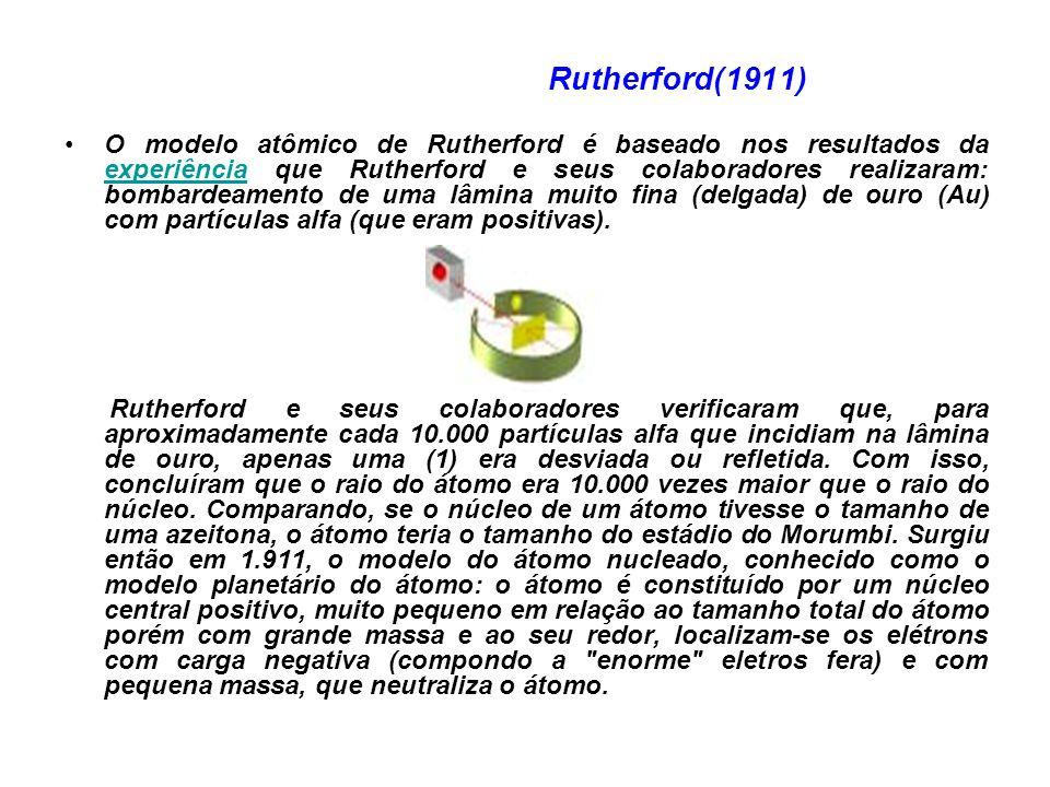 Rutherford(1911) O modelo atômico de Rutherford é baseado nos resultados da experiência que Rutherford e seus colaboradores realizaram: bombardeamento de uma lâmina muito fina (delgada) de ouro (Au) com partículas alfa (que eram positivas).