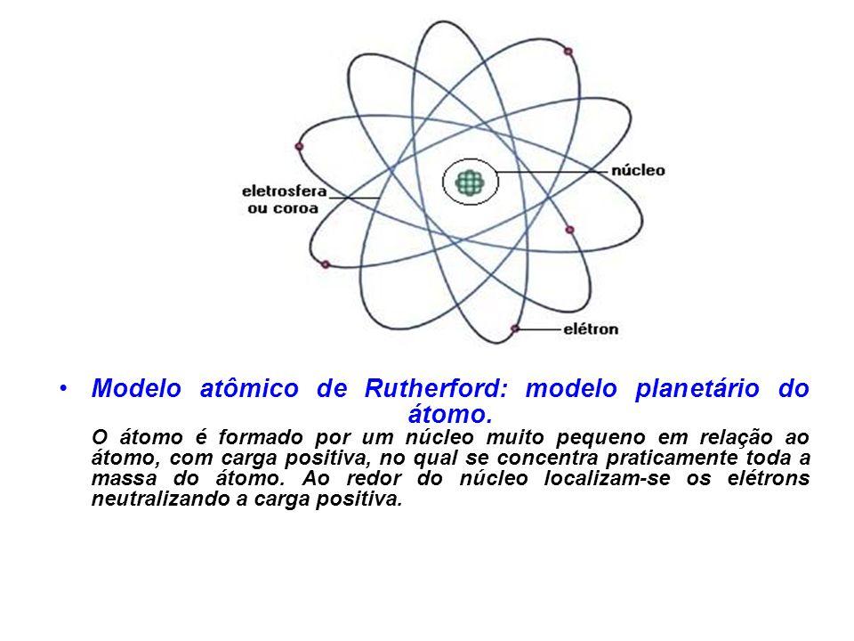 Modelo atômico de Rutherford: modelo planetário do átomo.