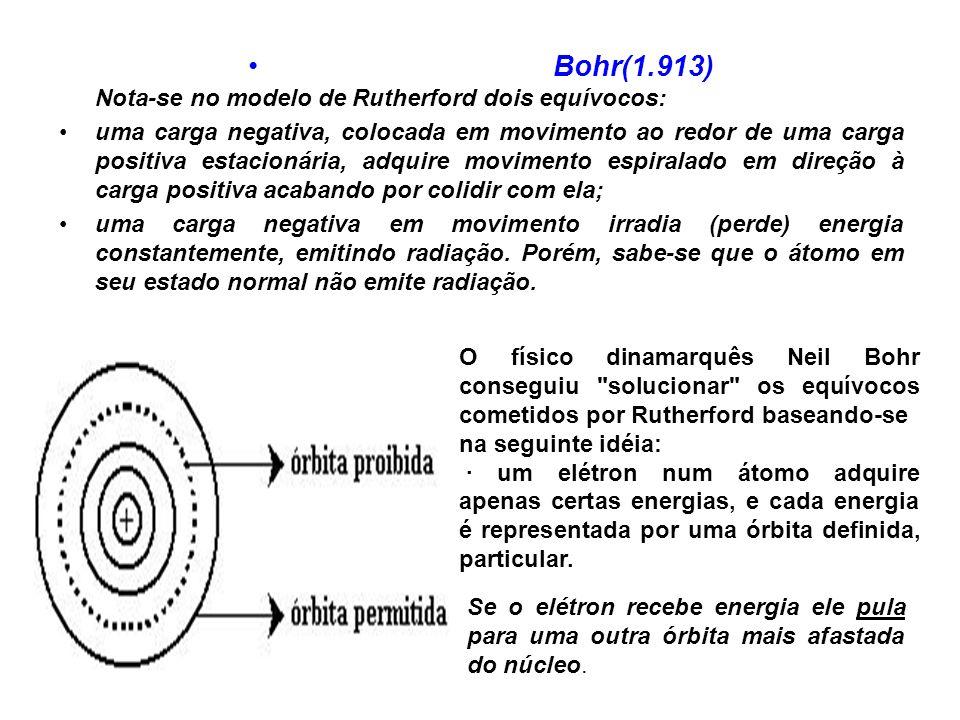 Bohr(1.913) Nota-se no modelo de Rutherford dois equívocos: uma carga negativa, colocada em movimento ao redor de uma carga positiva estacionária, adquire movimento espiralado em direção à carga positiva acabando por colidir com ela; uma carga negativa em movimento irradia (perde) energia constantemente, emitindo radiação.