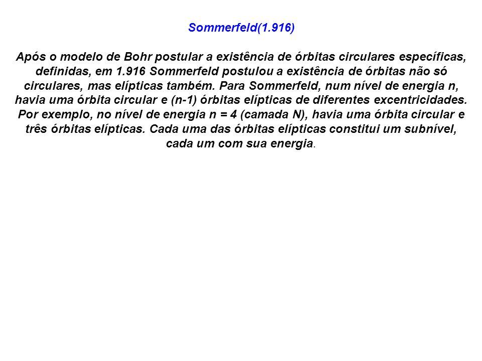 Sommerfeld(1.916) Após o modelo de Bohr postular a existência de órbitas circulares específicas, definidas, em 1.916 Sommerfeld postulou a existência de órbitas não só circulares, mas elípticas também.