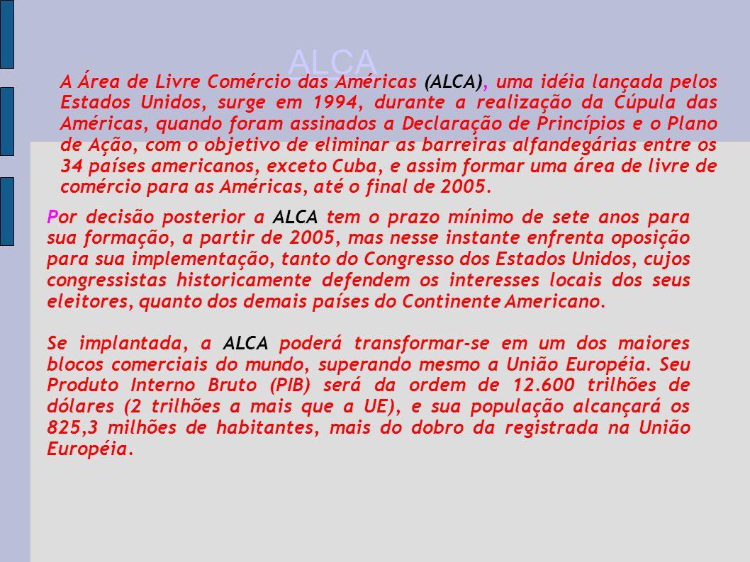Por decisão posterior a ALCA tem o prazo mínimo de sete anos para sua formação, a partir de 2005, mas nesse instante enfrenta oposição para sua implem