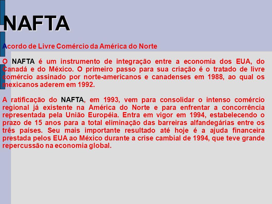 NAFTA Acordo de Livre Comércio da América do Norte O NAFTA é um instrumento de integração entre a economia dos EUA, do Canadá e do México. O primeiro