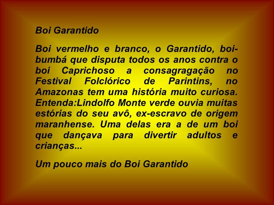 Boi Garantido Boi vermelho e branco, o Garantido, boi- bumbá que disputa todos os anos contra o boi Caprichoso a consagragação no Festival Folclórico