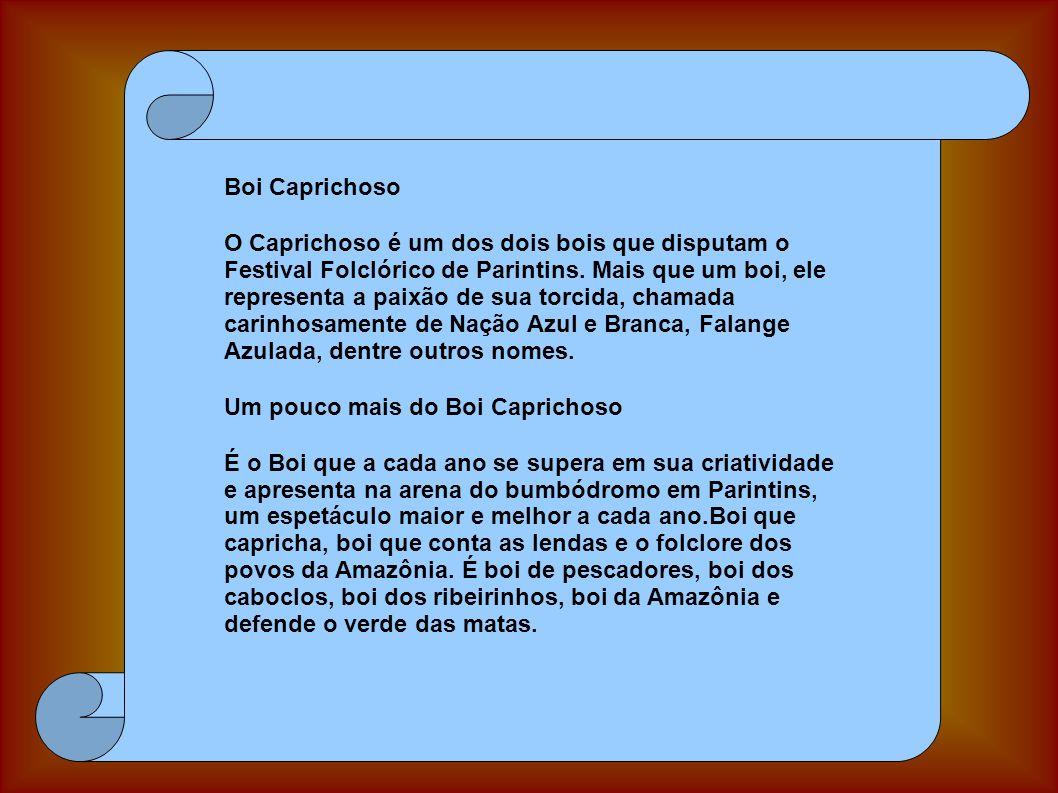 Boi Caprichoso O Caprichoso é um dos dois bois que disputam o Festival Folclórico de Parintins. Mais que um boi, ele representa a paixão de sua torcid