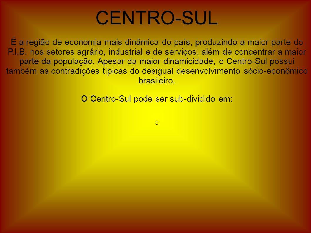 CENTRO-SUL É a região de economia mais dinâmica do país, produzindo a maior parte do P.I.B. nos setores agrário, industrial e de serviços, além de con