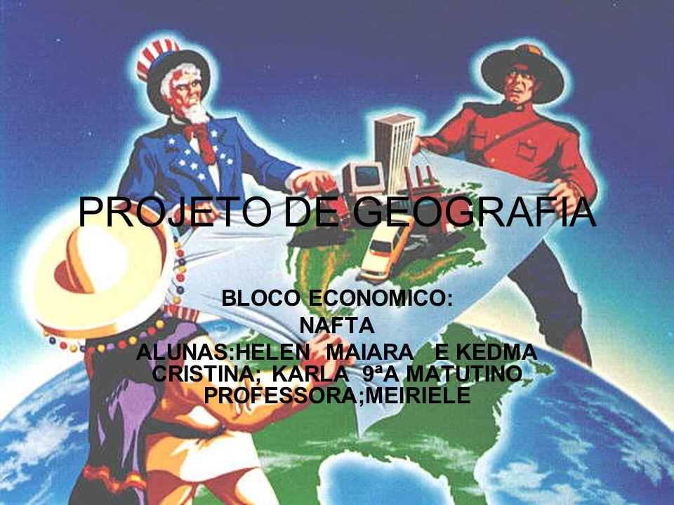 NAFTA O Acordo de Livre Comércio da América do Norte (Nafta) é um instrumento de integração das economias dos EUA, do Canadá e do México, Iniciado em 1988 por norte-americanos e canadenses, o bloco recebe a adesão dos mexicanos em 1993.
