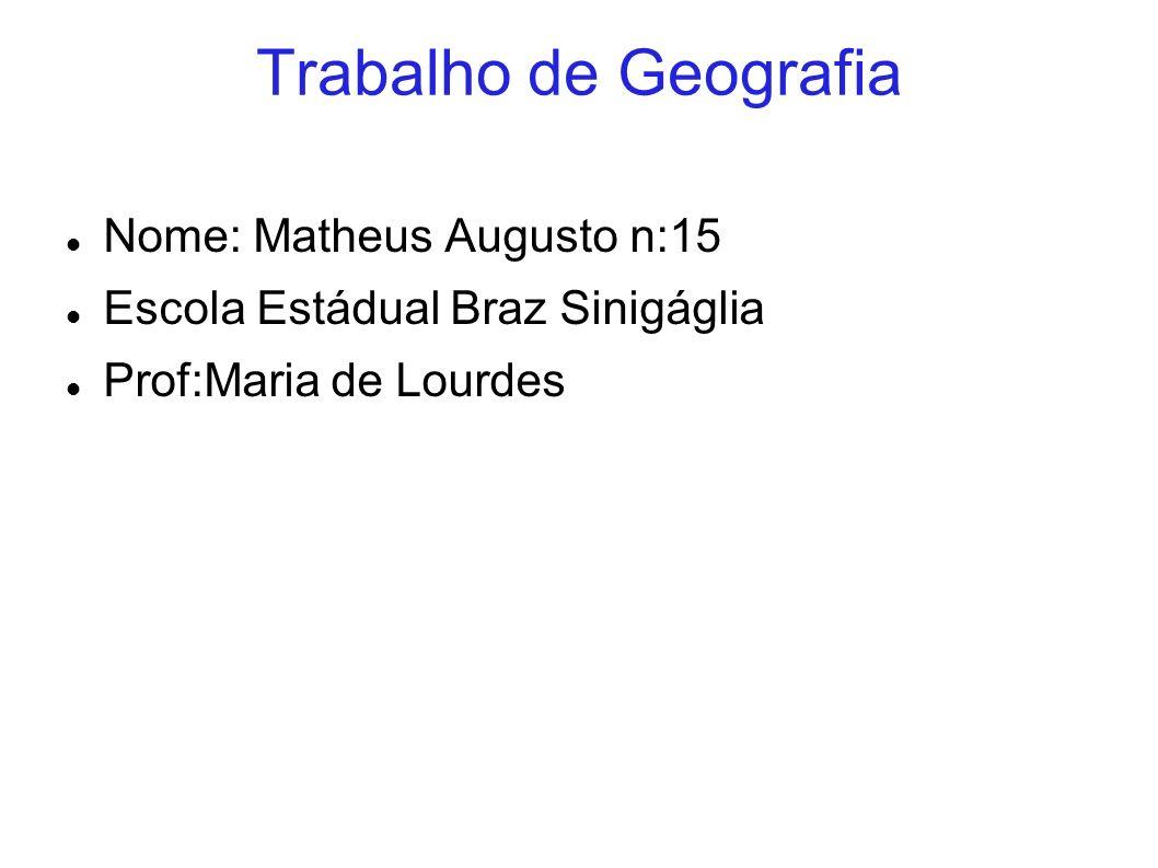 Trabalho de Geografia Nome: Matheus Augusto n:15 Escola Estádual Braz Sinigáglia Prof:Maria de Lourdes