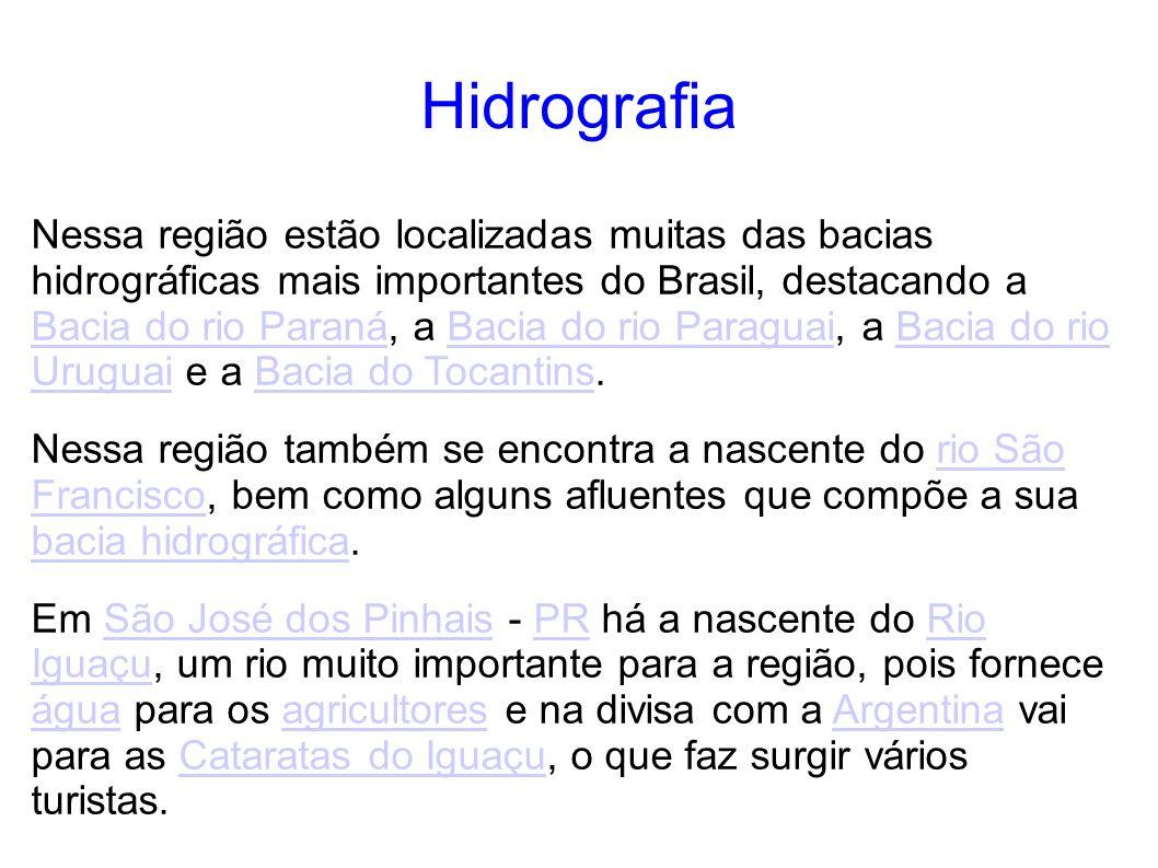Hidrografia Nessa região estão localizadas muitas das bacias hidrográficas mais importantes do Brasil, destacando a Bacia do rio Paraná, a Bacia do ri