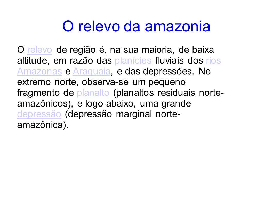 O relevo da amazonia O relevo de região é, na sua maioria, de baixa altitude, em razão das planícies fluviais dos rios Amazonas e Araguaia, e das depr