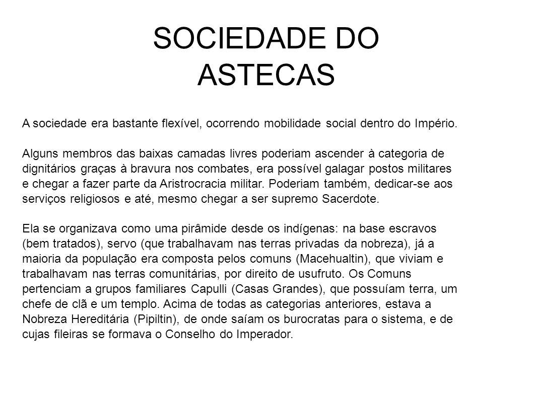 SOCIEDADE DO ASTECAS A sociedade era bastante flexível, ocorrendo mobilidade social dentro do Império. Alguns membros das baixas camadas livres poderi