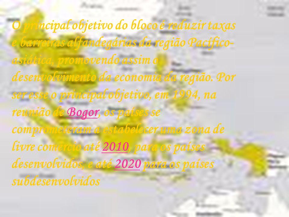 O principal objetivo do bloco é reduzir taxas e barreiras alfandegárias da região Pacífico- asiática, promovendo assim o desenvolvimento da economia d