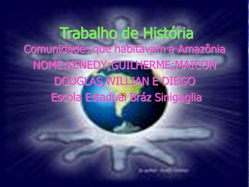 Trabalho de História Trabalho de História Comunidades que habitavam a Amazônia NOME:KENEDY;GUILHERME;MAICON DOUGLAS,WILLIAN E DIEGO Escola Estadual Br