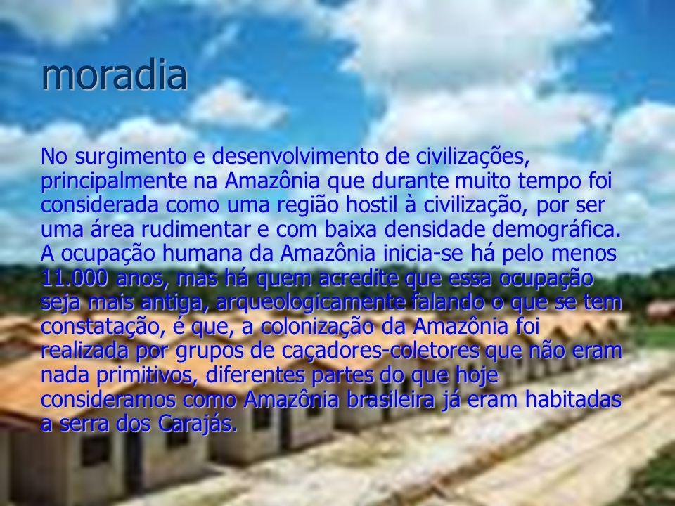 moradia No surgimento e desenvolvimento de civilizações, principalmente na Amazônia que durante muito tempo foi considerada como uma região hostil à c
