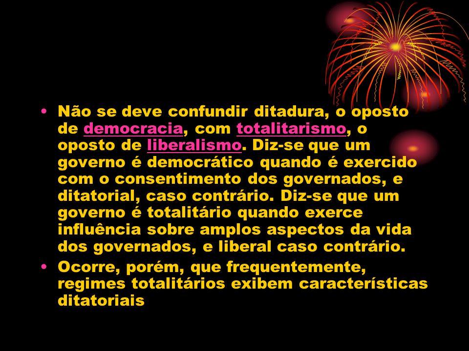Não se deve confundir ditadura, o oposto de democracia, com totalitarismo, o oposto de liberalismo. Diz-se que um governo é democrático quando é exerc