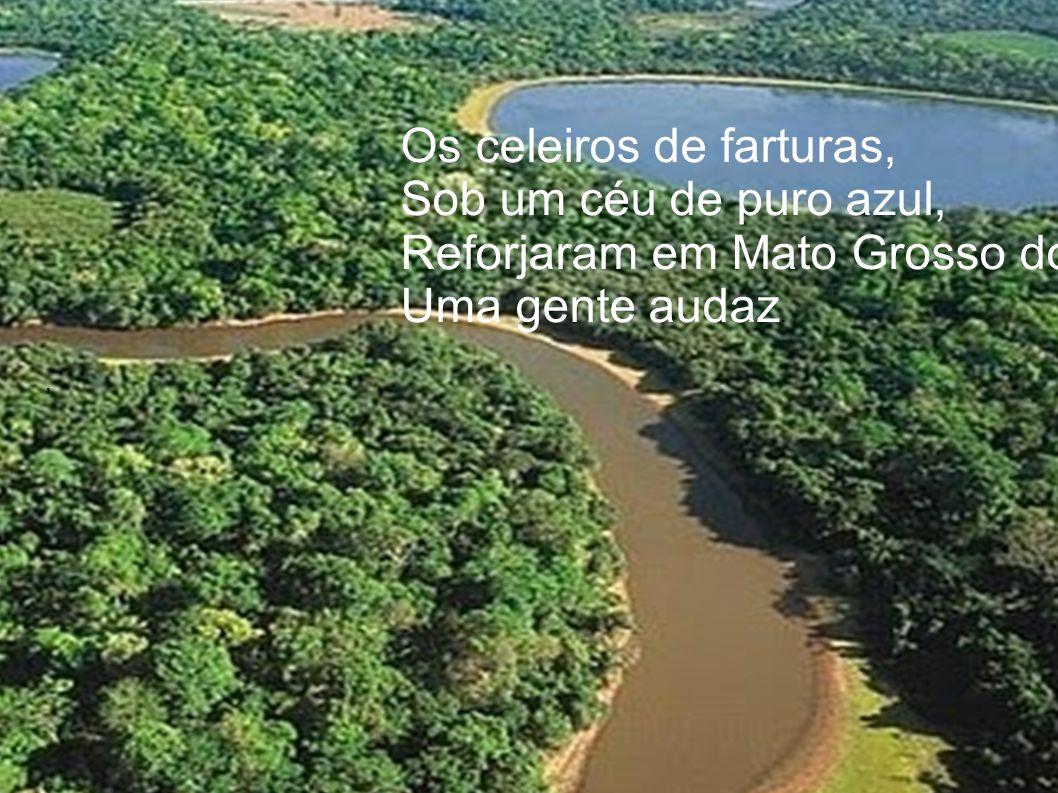 , Os celeiros de farturas, Sob um céu de puro azul, Reforjaram em Mato Grosso do Sul Uma gente audaz.