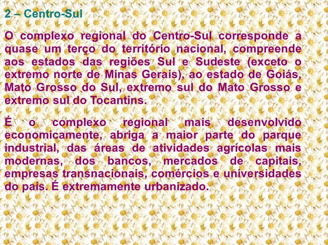 2 – Centro-Sul O complexo regional do Centro-Sul corresponde a quase um terço do território nacional, compreende aos estados das regiões Sul e Sudeste
