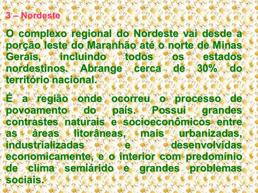 3 – Nordeste O complexo regional do Nordeste vai desde a porção leste do Maranhão até o norte de Minas Gerais, incluindo todos os estados nordestinos.