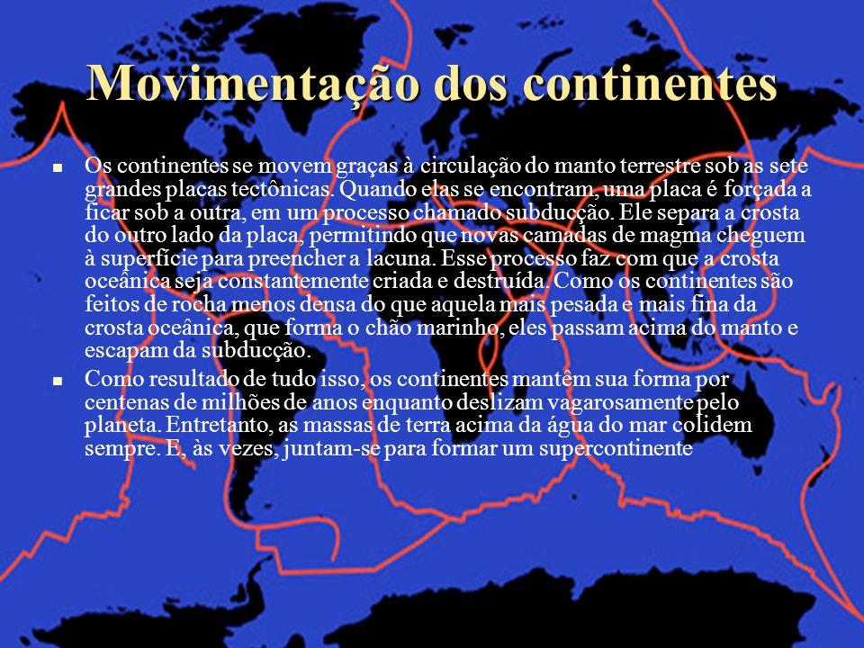 Movimentação dos continentes Os continentes se movem graças à circulação do manto terrestre sob as sete grandes placas tectônicas. Quando elas se enco