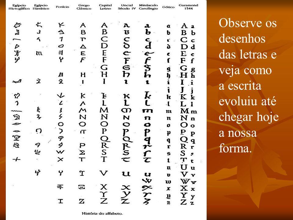Observe os desenhos das letras e veja como a escrita evoluiu até chegar hoje a nossa forma.