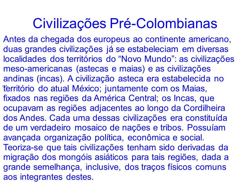 Civilizações Pré-Colombianas vos. Antes da chegada dos europeus ao continente americano, duas grandes civilizações já se estabeleciam em diversas loca