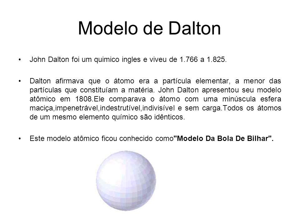 Modelo de Dalton John Dalton foi um quimico ingles e viveu de 1.766 a 1.825. Dalton afirmava que o átomo era a partícula elementar, a menor das partíc