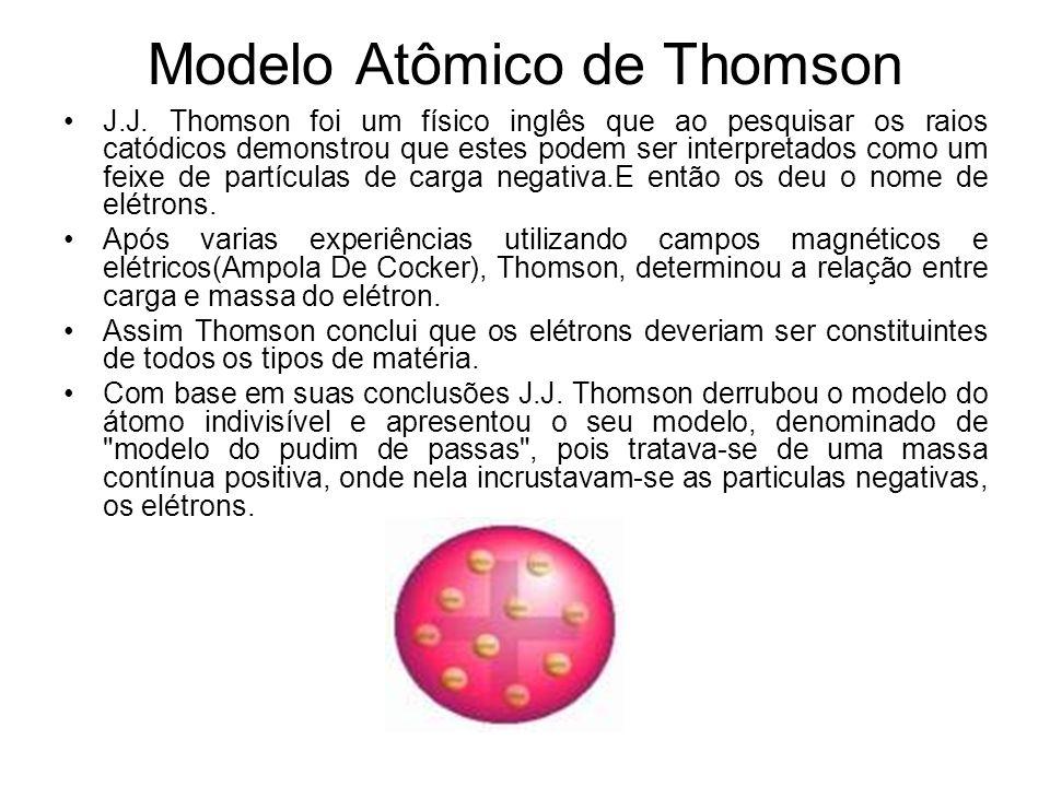 Modelo Atômico de Thomson J.J. Thomson foi um físico inglês que ao pesquisar os raios catódicos demonstrou que estes podem ser interpretados como um f