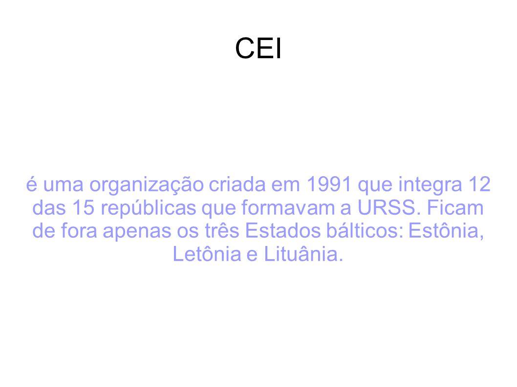 CEI é uma organização criada em 1991 que integra 12 das 15 repúblicas que formavam a URSS. Ficam de fora apenas os três Estados bálticos: Estônia, Let