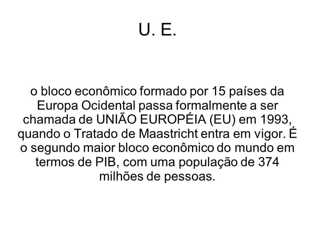U. E. o bloco econômico formado por 15 países da Europa Ocidental passa formalmente a ser chamada de UNIÃO EUROPÉIA (EU) em 1993, quando o Tratado de