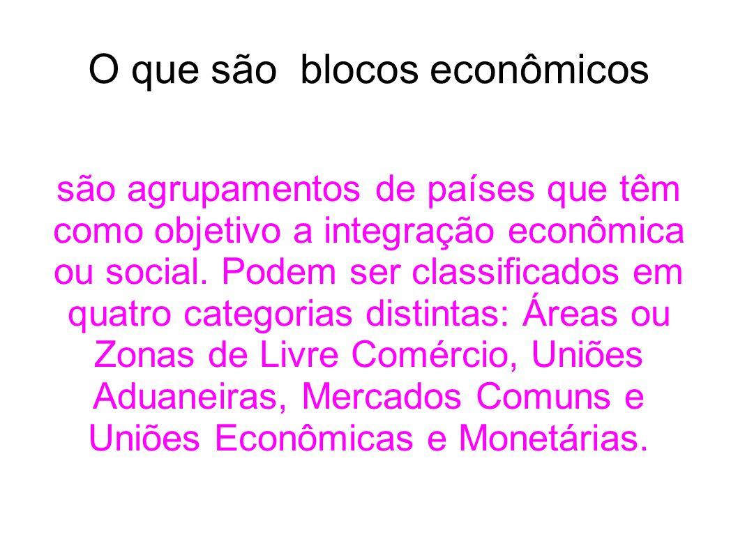 O que são blocos econômicos são agrupamentos de países que têm como objetivo a integração econômica ou social. Podem ser classificados em quatro categ
