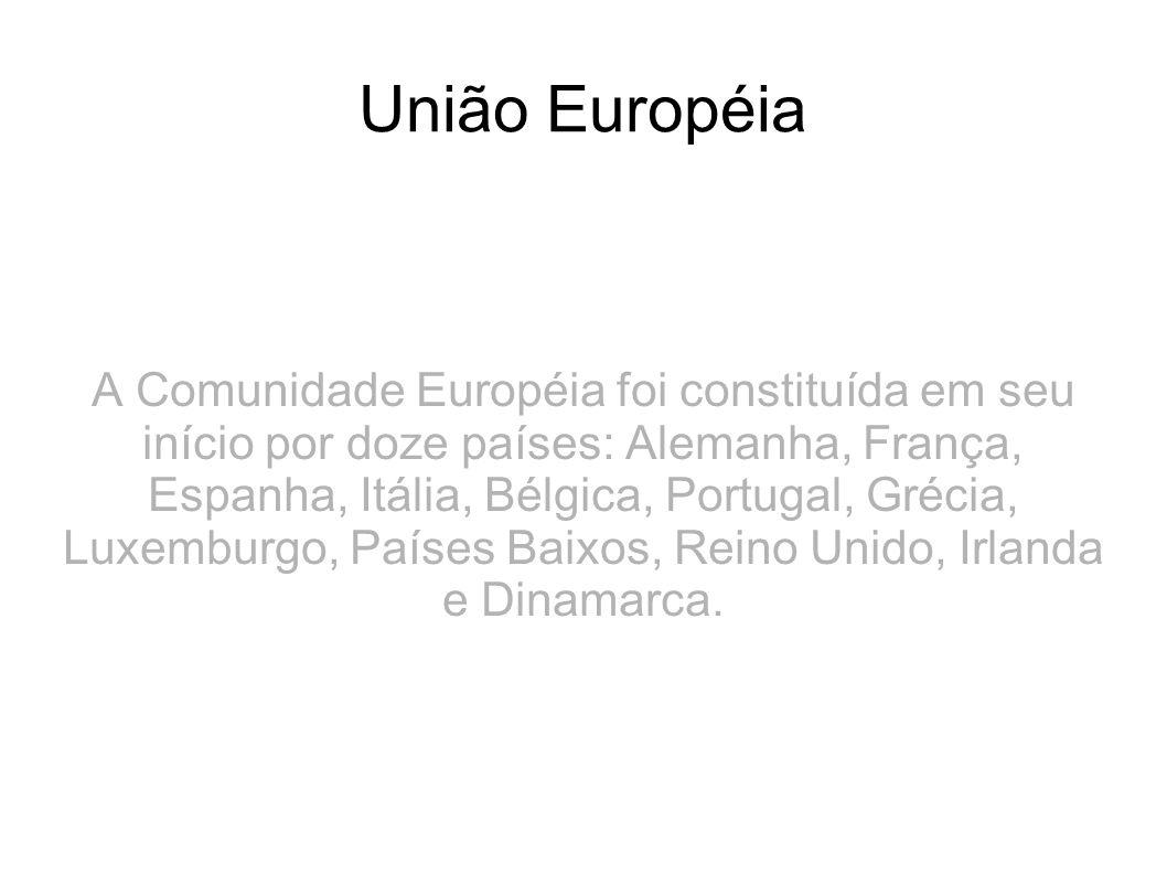 União Européia A Comunidade Européia foi constituída em seu início por doze países: Alemanha, França, Espanha, Itália, Bélgica, Portugal, Grécia, Luxe