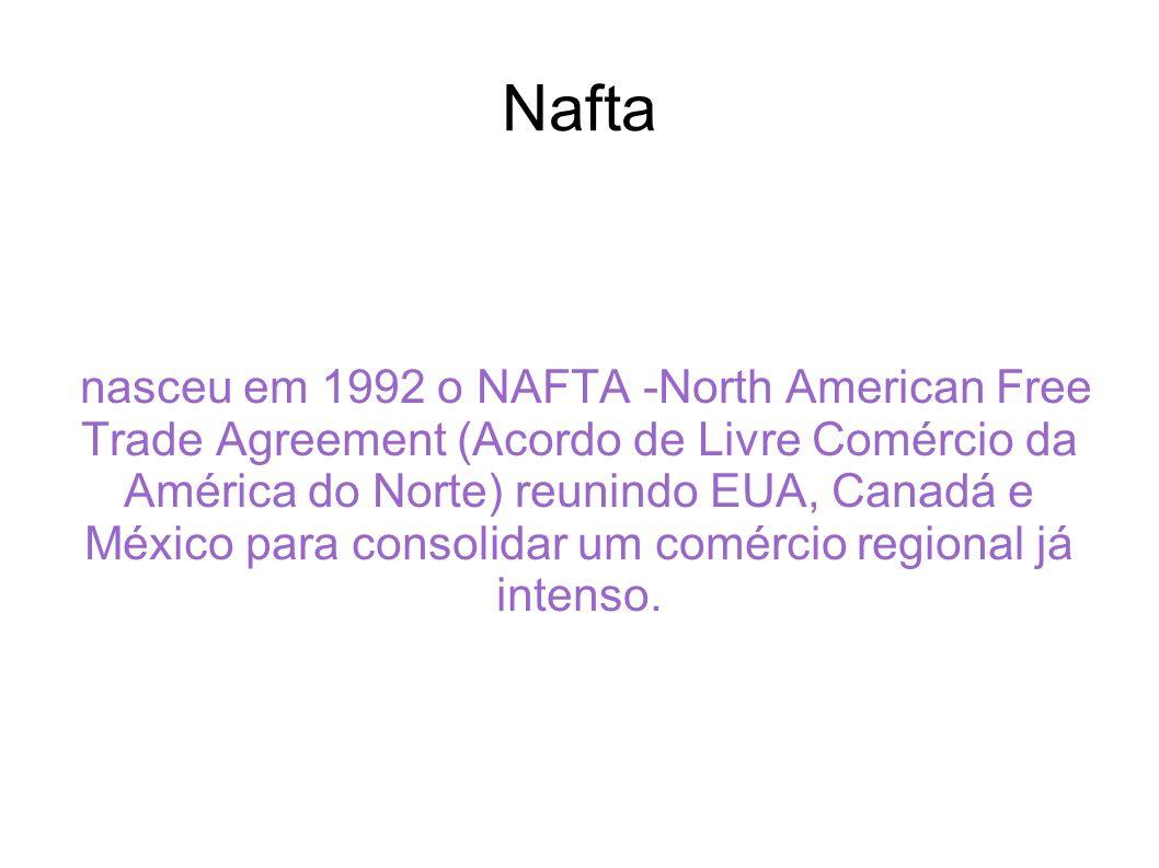 Nafta nasceu em 1992 o NAFTA -North American Free Trade Agreement (Acordo de Livre Comércio da América do Norte) reunindo EUA, Canadá e México para co