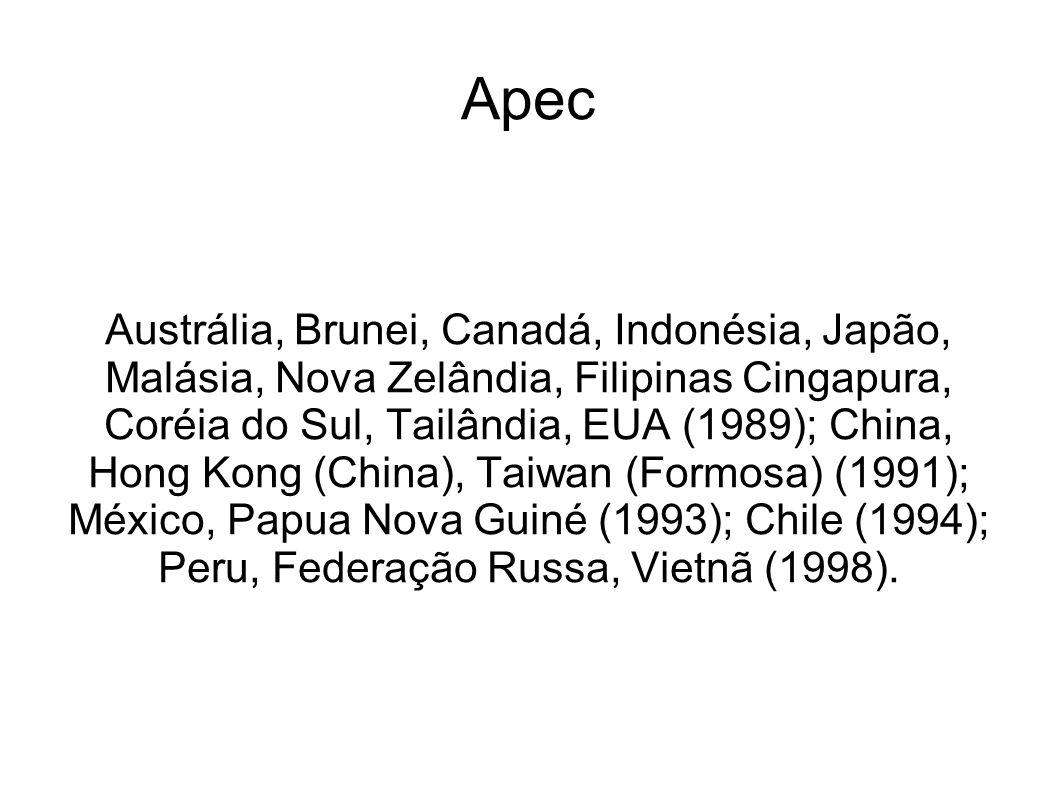 Apec Austrália, Brunei, Canadá, Indonésia, Japão, Malásia, Nova Zelândia, Filipinas Cingapura, Coréia do Sul, Tailândia, EUA (1989); China, Hong Kong