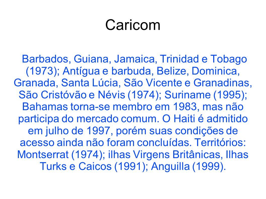 Caricom Barbados, Guiana, Jamaica, Trinidad e Tobago (1973); Antígua e barbuda, Belize, Dominica, Granada, Santa Lúcia, São Vicente e Granadinas, São