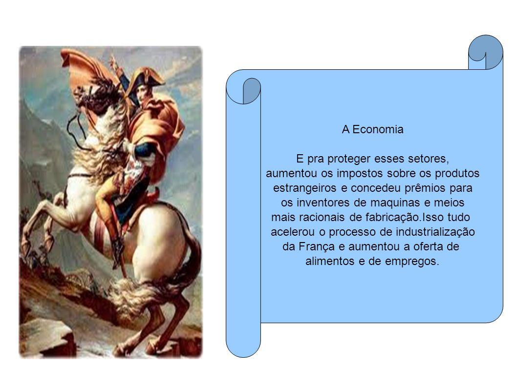 A Economia E pra proteger esses setores, aumentou os impostos sobre os produtos estrangeiros e concedeu prêmios para os inventores de maquinas e meios