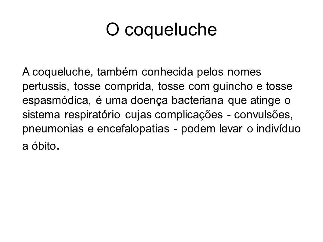 O coqueluche A coqueluche, também conhecida pelos nomes pertussis, tosse comprida, tosse com guincho e tosse espasmódica, é uma doença bacteriana que