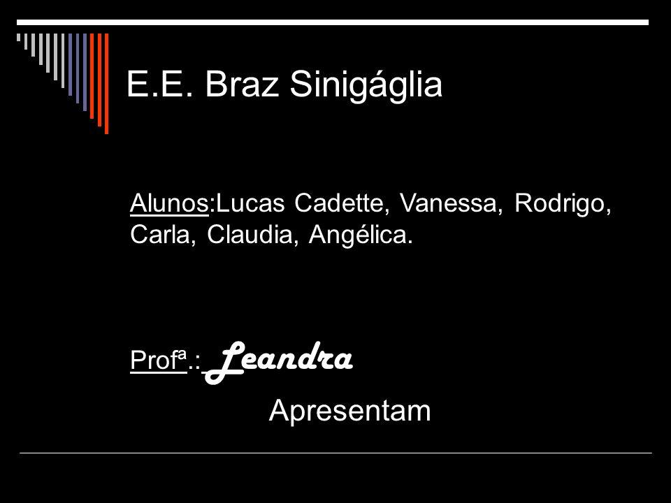 E.E. Braz Sinigáglia Alunos:Lucas Cadette, Vanessa, Rodrigo, Carla, Claudia, Angélica. Profª.: Leandra Apresentam