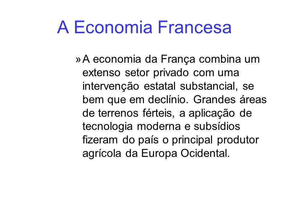 A Economia Francesa »A economia da França combina um extenso setor privado com uma intervenção estatal substancial, se bem que em declínio. Grandes ár